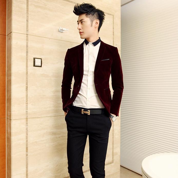 Dsshb fashion trend of the male slim quality black velvet suit casual blazer(China (Mainland))