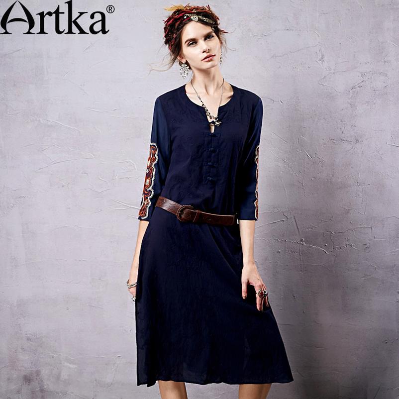 Artka Women Bohemian Straight Dress Embroidery Design Solid Color Three Quarter Sleeve Modern Lady Cotton Dress LA14555X PRESELL(China (Mainland))