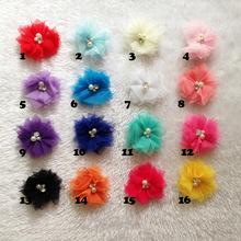 Wholesale 100pcs/lot  Mini Tulle Mesh Chiffon flower Rhinestone Pearl Center flat back 18 color hair accessory free shipping