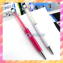 10pcs promotional New 2in1 Crystal Diamond 14cm Stylus Pen+Ball Point Pen Function For iPhone 3/4/5GS &iPad,velvet bag available(China (Mainland))
