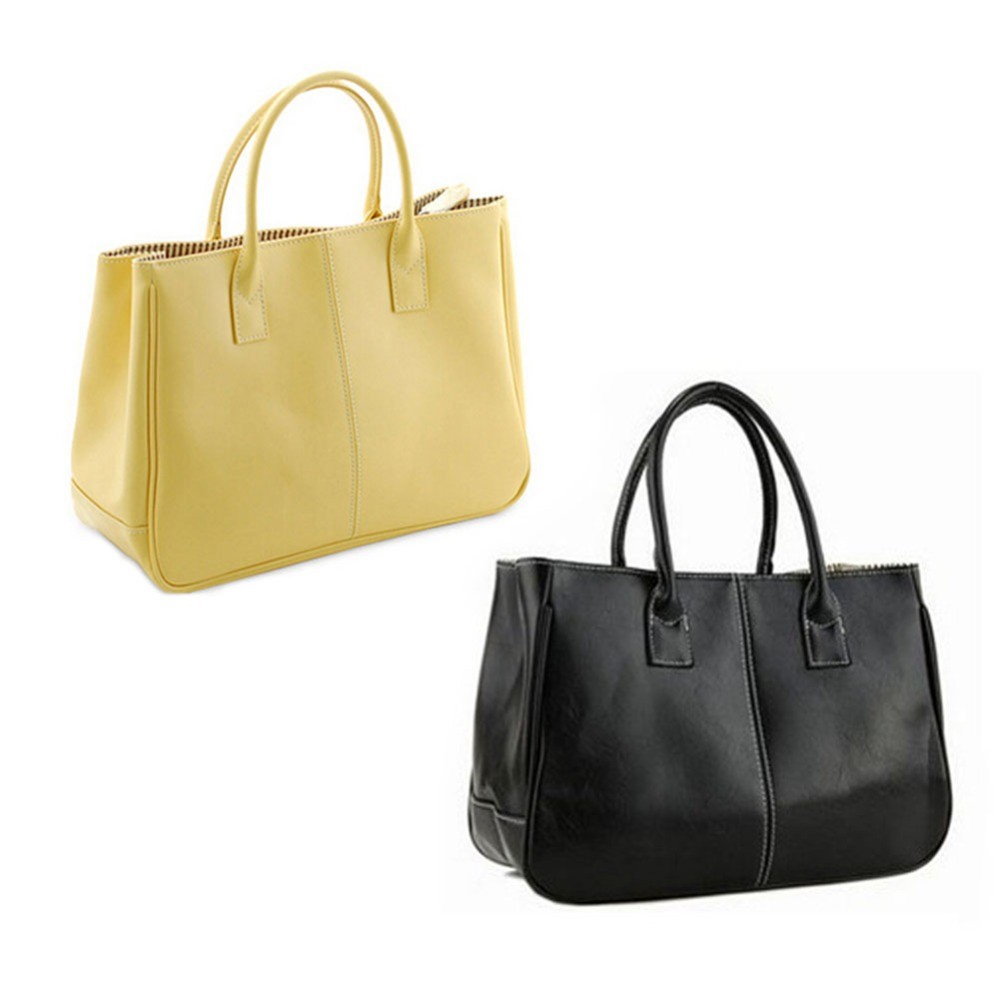 Fashion PU Leather Handbag Pure Color Large Capacity Casual Simple Bag Free Shipping<br><br>Aliexpress