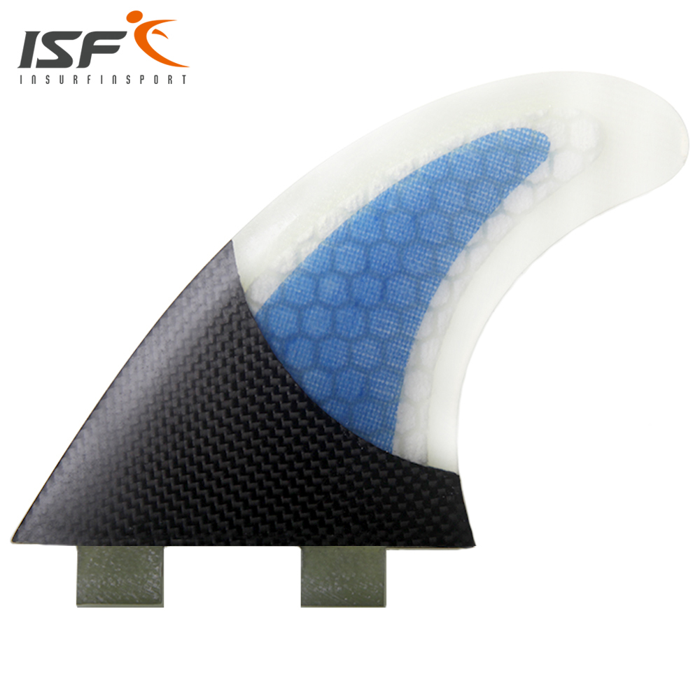 Insurfin Carbonfiber Surfboard Fins Thruster Fin Set (3) FCS Compatible Medium Blue Surf Fin(China (Mainland))