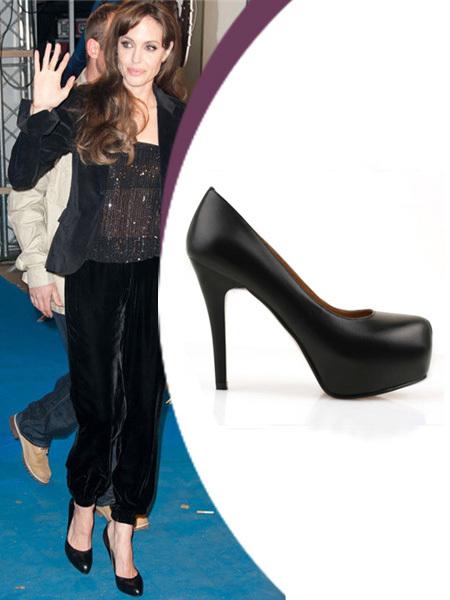Angelina Jolie Heels black lambskin round toe red bottom pumps stiletto 140 mm high platform heels