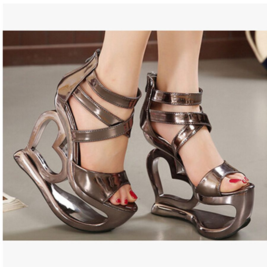 Фотография SD123 New 2016 Open Toe Women Sandal Shaped Love Wedges Platform Summer Single Shoes Roman Sandals High Heeled Shoes