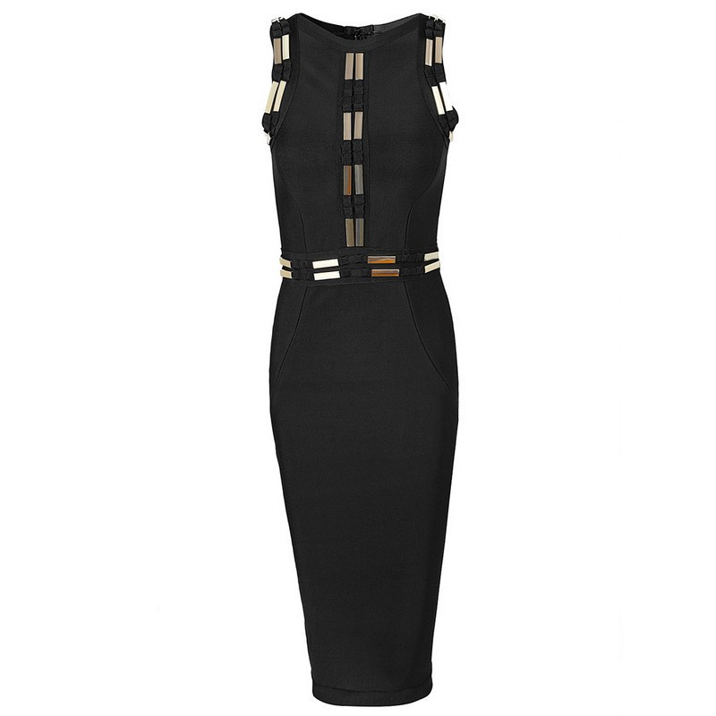 2015 New Arrival High Quality Black Color Women's Sequined Knee-Length Sleeveless Sexy Dress HL Bandage Dress Celebrity Dresses