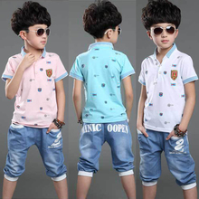 Summer style Kids suit 2 piece Polo shirt+Jeans Clothing set for Baby boys Sport suit 100% Cotton Tracksuit Baby clothes