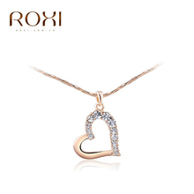 ROXI brand fashion rose gold plated crystal heart pendant necklaces for women, Fashion Gold Jewelry,2030906350a