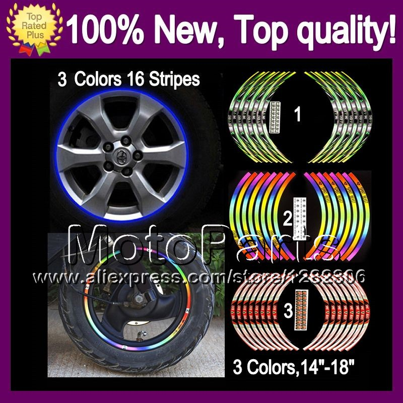 Wheel Rim Decals Stickers For SUZUKI GSXR1300 08-14 GSXR 1300 GSX R1300 GSXR-1300 08 09 10 11 12 13 14 6B96 Wheel Rim Sticker(China (Mainland))