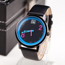 Marca de fábrica superior de gama alta de moda Casual Watch mujeres Reloj nuevo estilo de diseño de línea única la PU de la raya Reloj de cuarzo de cuero Reloj Mujer
