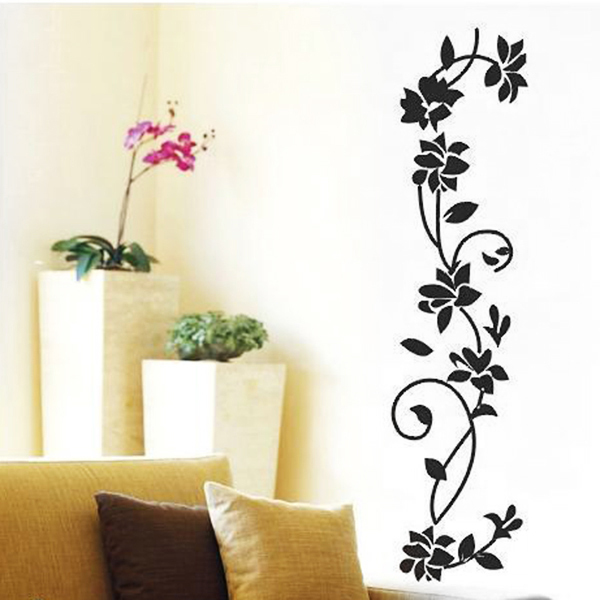 Black Ratten Flower Vinyl Wall Decal Stickers Art Mural Home Decor Removable(China (Mainland))