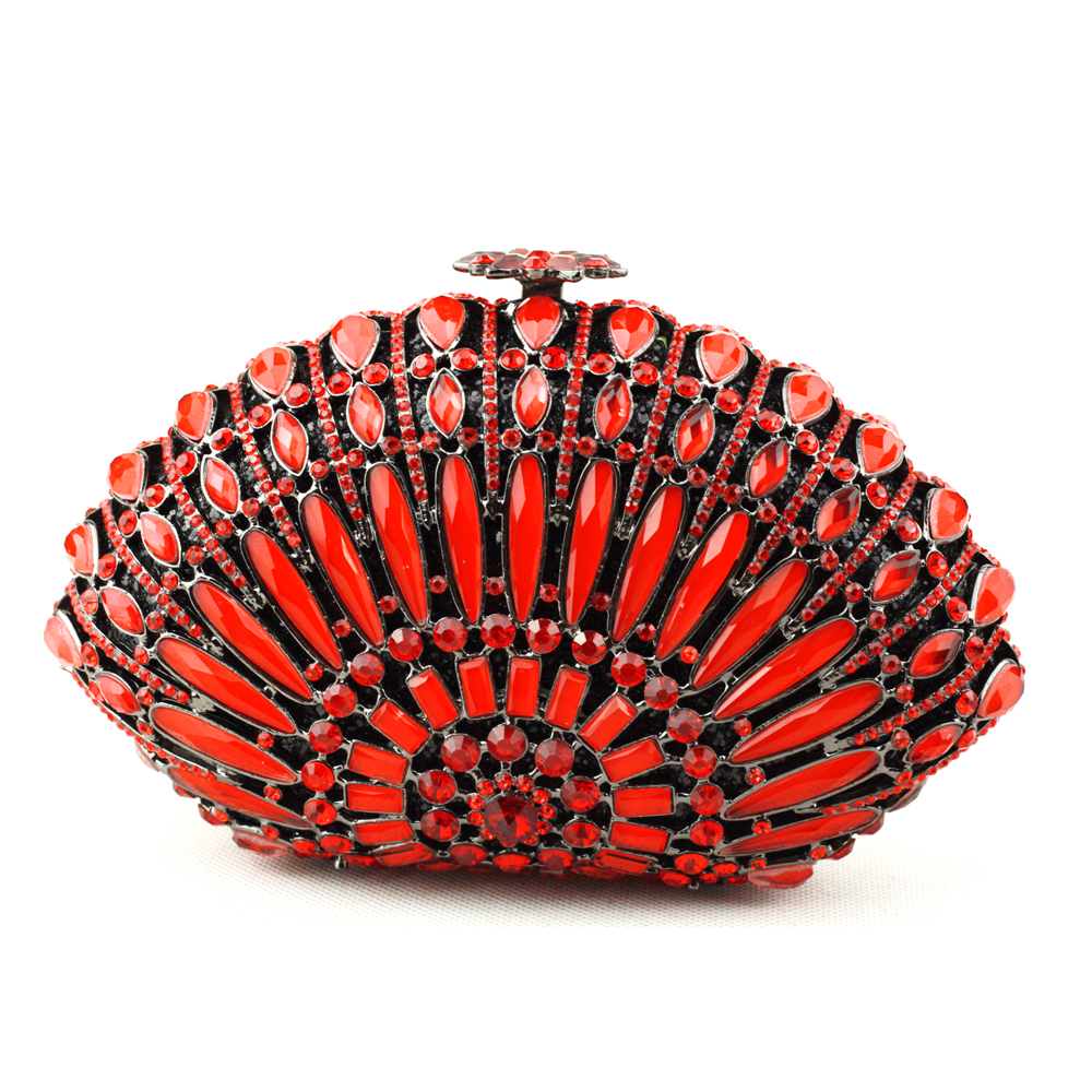 Buy Ladies Red Clutch Bag Best-Selling Crystal Beaded Purse Bags UK Free Shipping with Box Wholesale Cheap Clutches for Weddings(China (Mainland))