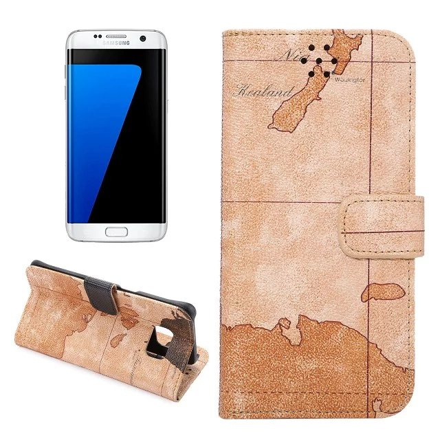 500PCS,2016 New Magnetic Retro World Map PU Leather Wallet Clutch Case Stand Flip Cover for Samsung Galaxy S7 edge Phone Case(China (Mainland))