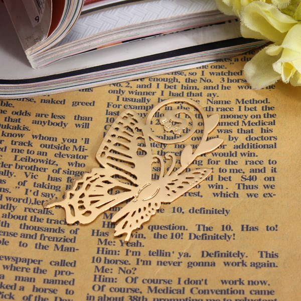 5pcs/pack Romantic Design Reading Gold Metal Golden Butterfly Style Bookmark Book Marks Label Present(China (Mainland))