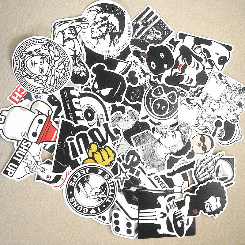 1Pcs  Black and White car styling home decor Doodle laptop motorcycle bike suitcase decal accessories car sticker covers