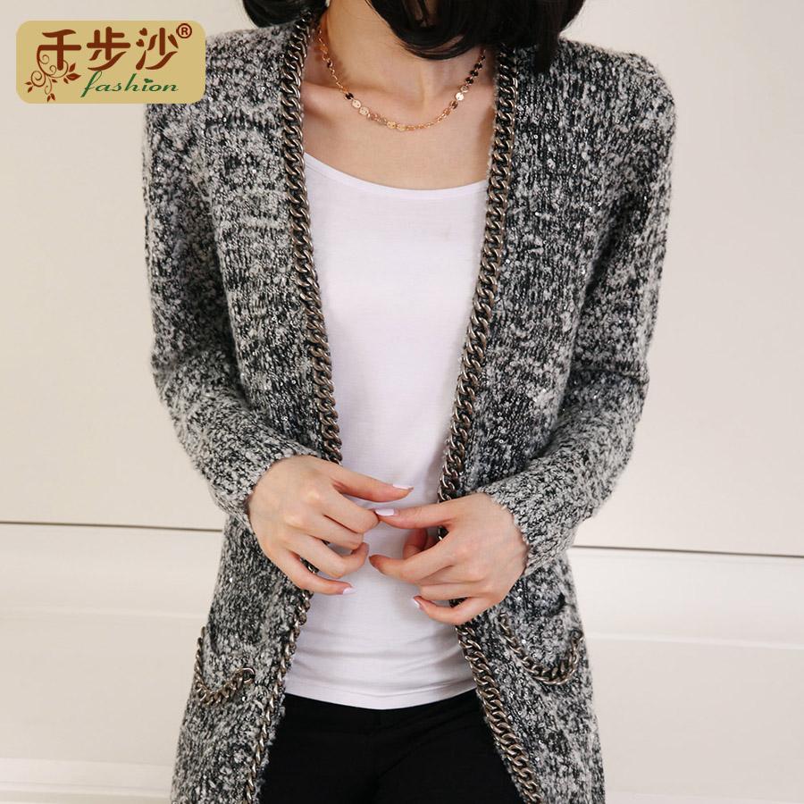 2013 autumn women's chain paillette sweater cardigan slim medium-long sweater outerwear(China (Mainland))
