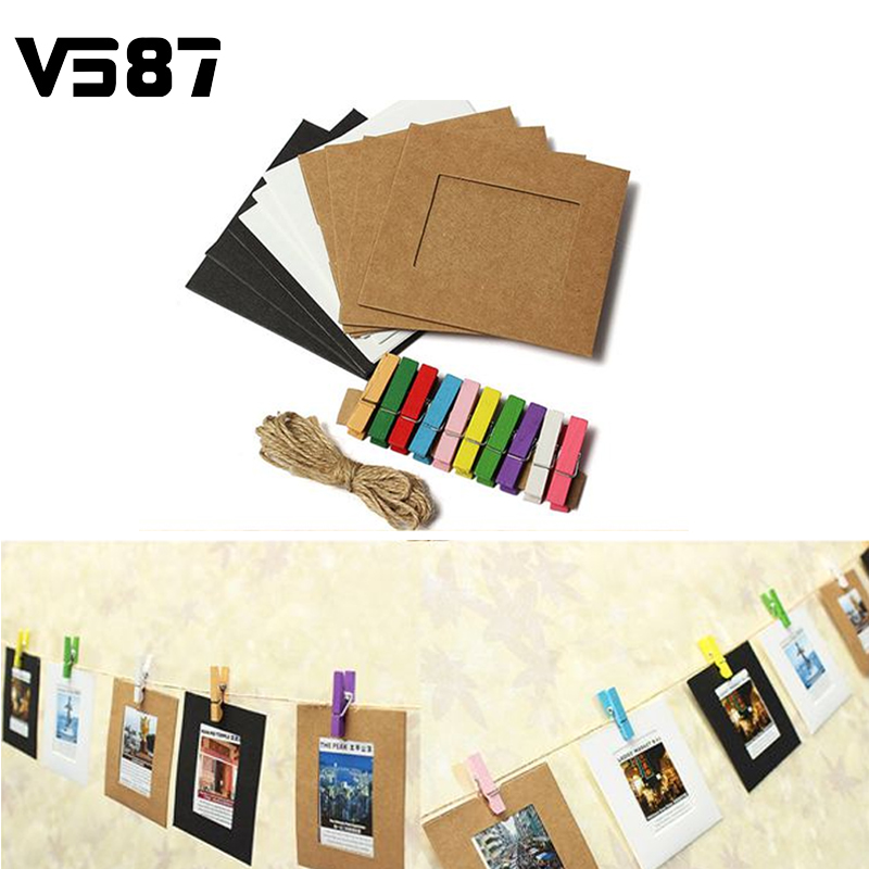 Lovely Paper Frame Film Memorial Photo Album Galley Wall Hanging Clips With Hemp Rope Pictures 10PCS/lot(China (Mainland))