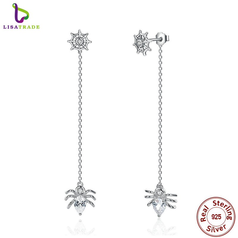 2017 New 925 Sterling Silver Ferris Wheel and Spider Push-back Long Drop Earrings For Women Party Fashion Jewelry SCE019(China (Mainland))