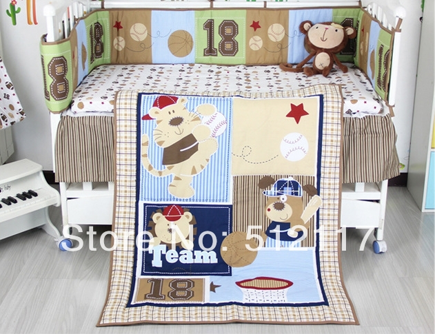 2014 New Forest Animals 5pcs Baby Cot Crib Bedding Set 5 items Includes Quilt Bumper Sheet crib skirt Diaper Stacker(China (Mainland))