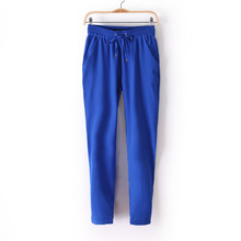 Hot Sale Casual Women Chiffon Pants Elastic Waist Solid Color Office OL Pants Summer Slim Lady Pants  AB17(China (Mainland))
