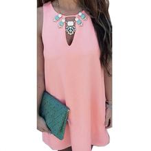 Brand new vestidos 2015 Sexy Women Summer Boho Sleeveless Sundress Short MIni Chiffon Dress S M L XL(China (Mainland))