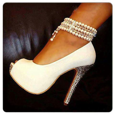 Shoesofdream Hot Selling White Pearl Ankle Strap High Heel Shoes<br><br>Aliexpress