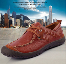 New 2015 Genuine leather high quality Men shoes solid lace-up casual leather shoes 2 color free shipping(China (Mainland))