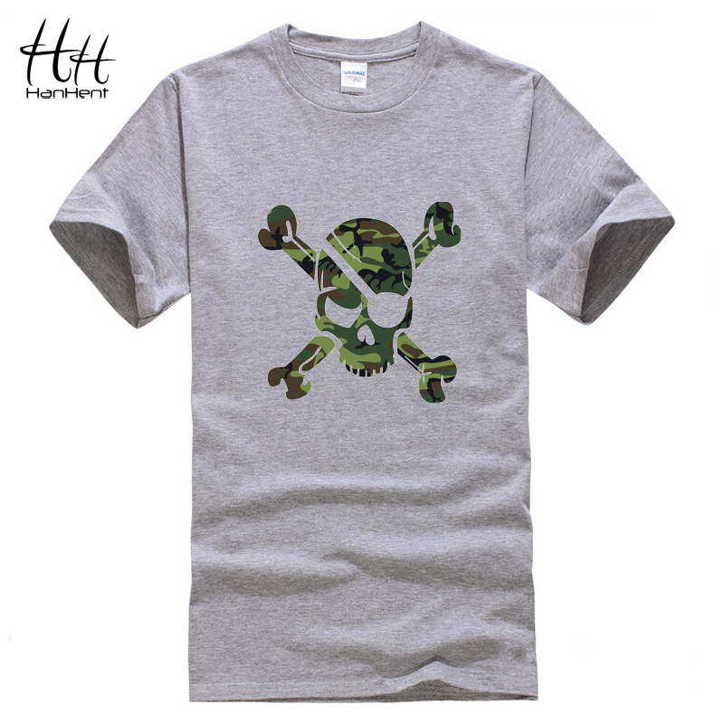 HanHent Camouflage Skull T shirt Men Pirates Short Sleeve Men T-shirts Casual Cotton Gym clothing USA Russia Amry Military(China (Mainland))