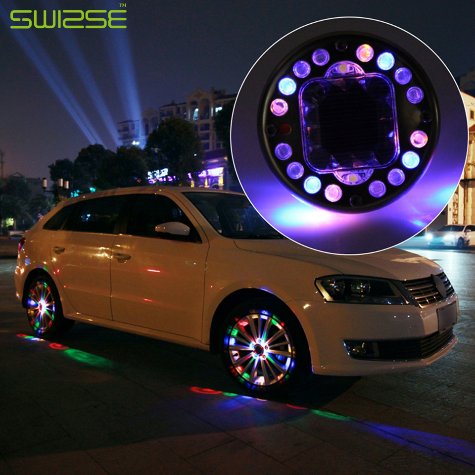 4PCS/lot LED Colorful RGB Waterproof Flash Wheel Lights LED Lights for Car Rims Solar Power Wheel Lamp For Audi BMW Honda Focus(China (Mainland))