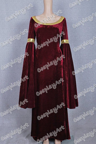 Arwen Dress Costume Costume Red Velvet Dress