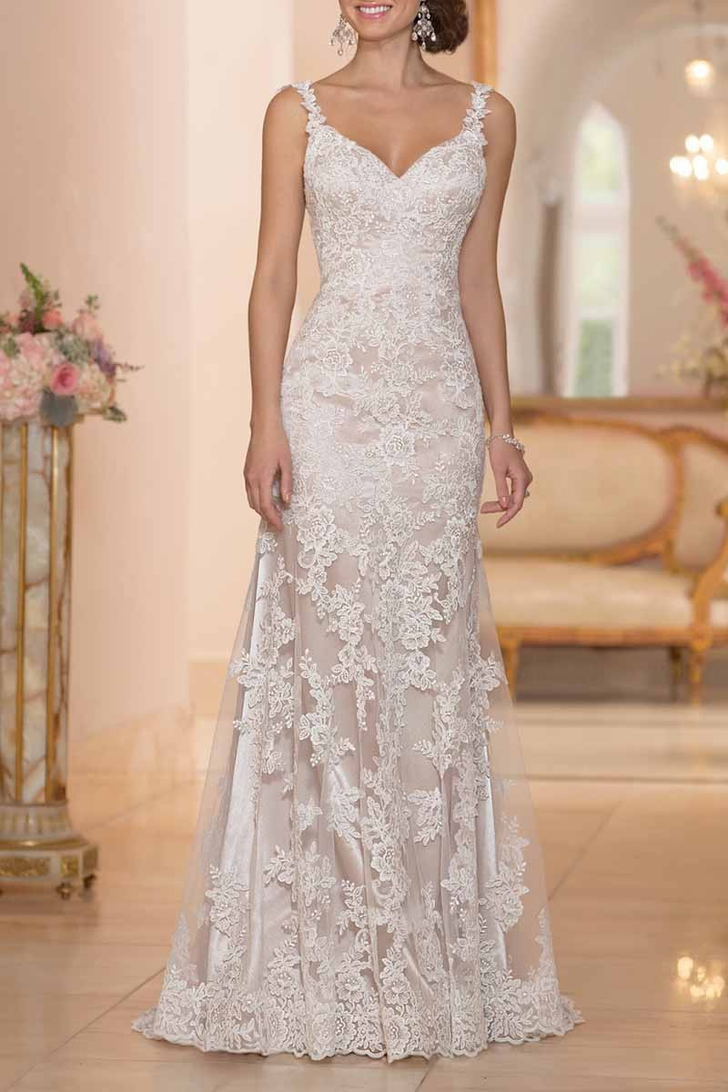 Lace wedding dress 2015 sexy backless v neck floor length for Lace mid length wedding dresses