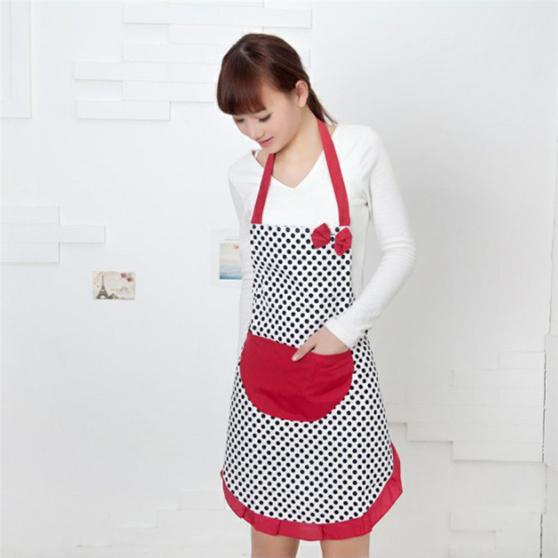 New Cute BBQ Party BowKnot Women Kitchen Restaurant Bib Cooking Aprons Kitchen Cooking Apron Free Shipping(China (Mainland))