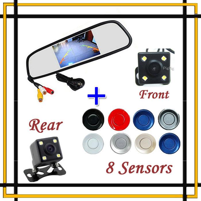 4 In 1 Auto 5 Mirror Monitor Display With Car Parking Sensor 8 Redars Car Rear / Front view Camera Kit Parking System BIBI Alarm(China (Mainland))