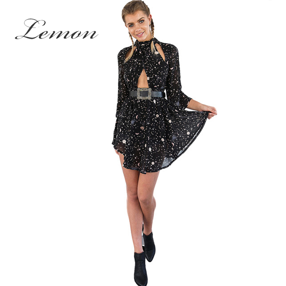 Lemon Print Black Basic Women Dress Cut Out Elegant Bodycon Mini Dress Punk Style Chiffon Sash Female Vestidos(China (Mainland))