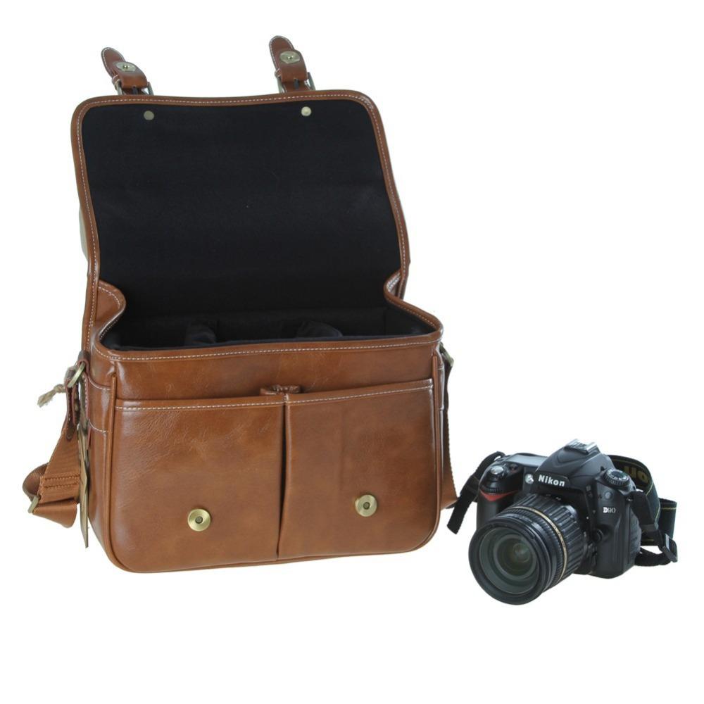 2016 New Koolertron PU Leather SLR DSLR Waterproof Camera Bag Case Handbag Shoulder Messenger Bag Cameras For Canon EOS,sj4000(China (Mainland))