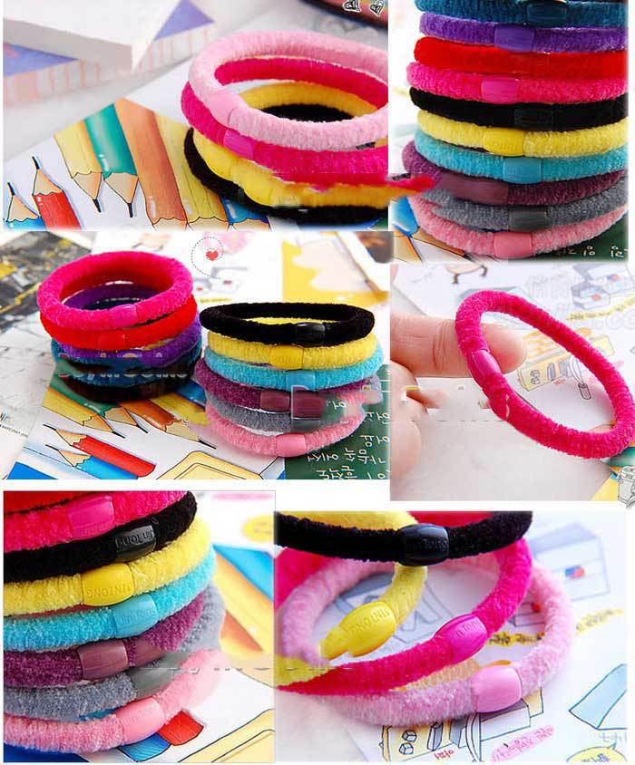 CanMore Super 2Pcs Random Color Child Lady Useful Girl Soft Cotton Ring Elastic Ties Hair Band Rope(China (Mainland))