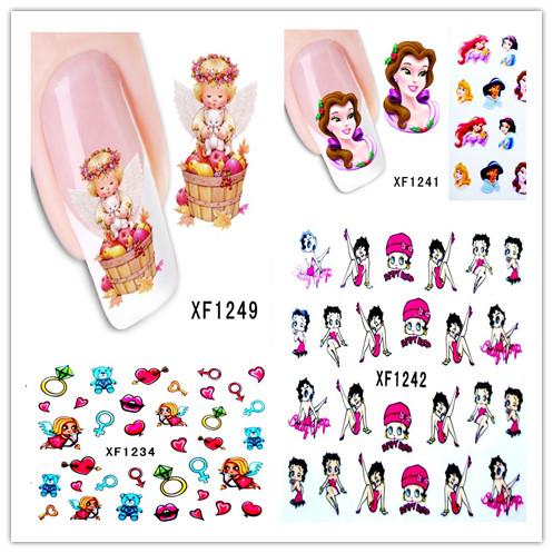 4 sheets New Fashion beautiful art Hollywood cartoon DIY Water Transfer Nail Sticker Nail art Sticker Watermark Decals tools(China (Mainland))