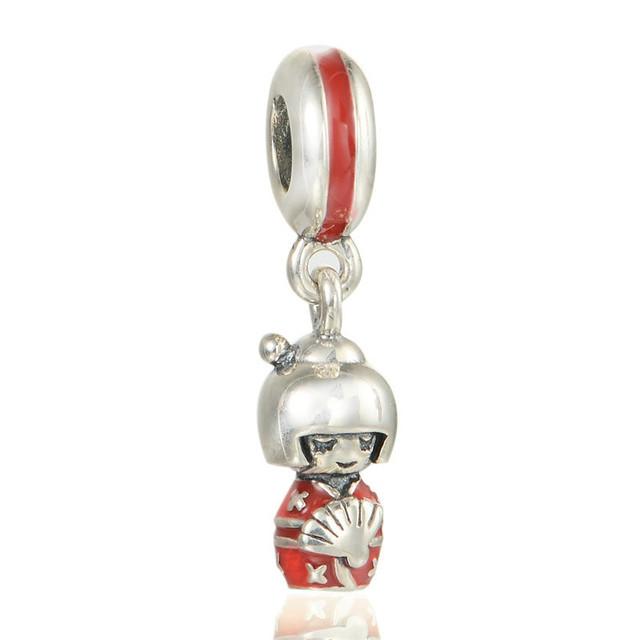 925 серебряные ювелирные изделия красной эмалью японская кукла подвески бусины Fit пандора браслет DIY мода ювелирных изделий прямая поставка