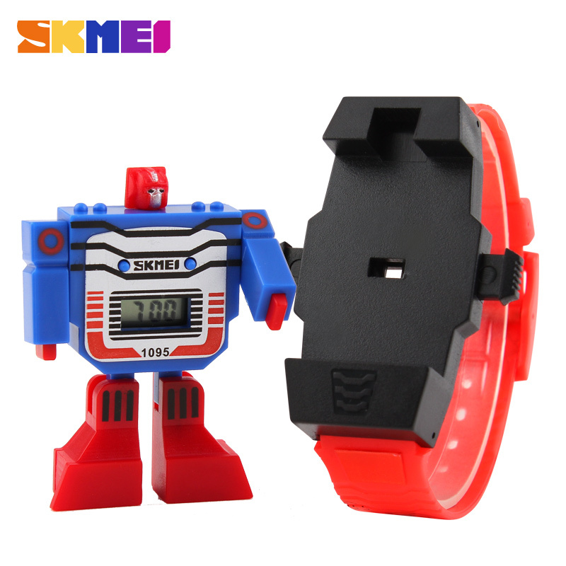 2016 Fashion Brand Children Quartz Cute LED Digital Kids Children Cartoon Sports Watches Robot Transformation Toys Wrist Watches