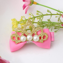 New 1PC Girls Hair Accessories Crown Bow Hairpins Baby Tiara Peals Bow Barrette Hair Ornaments Girls Lovely Hair Clip