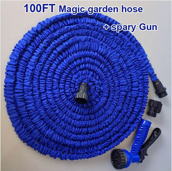 100FT hose Magic Garden Hose with gun water garden Pipe Water valve+ spray Gun Expandable,pocket hose,as seen on TV(China (Mainland))