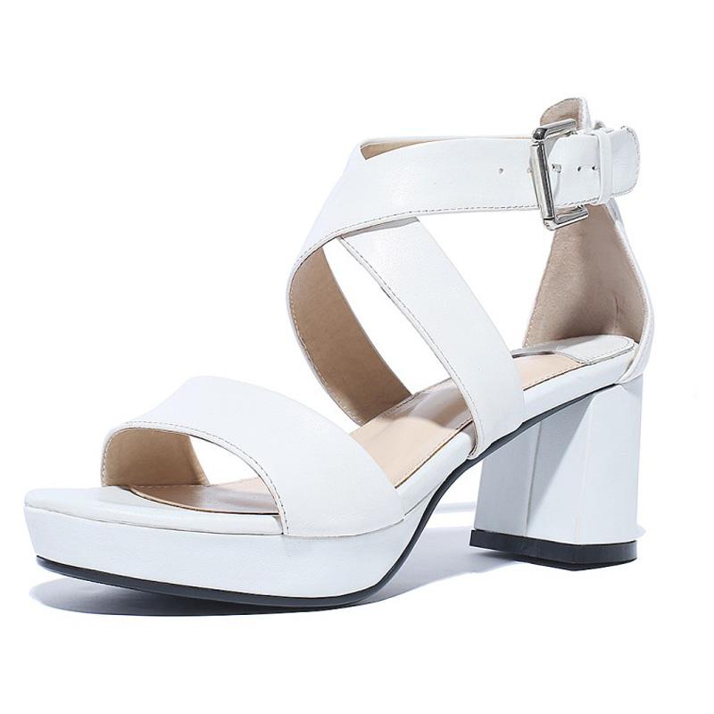Фотография 2016 shoes woman summer sandals high heel Platform Pumps genuine leather serrated ankle strap women platform shoes zapatos mujer