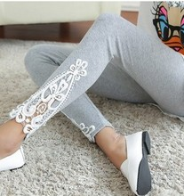The new 2016 joker in the spring and autumn women leg Triangle side lace fashion leggings(China (Mainland))
