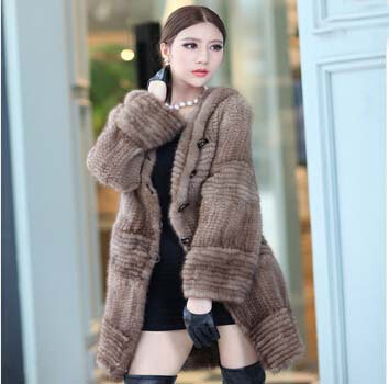 Luxury Winter 2014 New Fashion Natural Genuine Knitted Mink Fur Coat Jacket Real Long Elegant Outerwear Coats Parka With BeltОдежда и ак�е��уары<br><br><br>Aliexpress