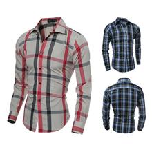 2016 Spring Men Casual Long Sleeve Paid font b Shirt b font Dress Cotton font b