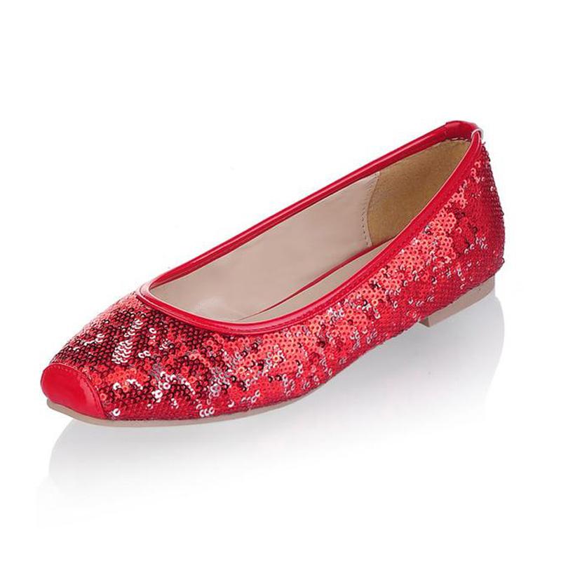 Fashion squre toe paillette women wedding shoes casual plus size women flat shoes comfortable lady ballerinas sapatos size 34-47<br><br>Aliexpress