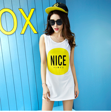 2016 New Quality Women's Summer Dress Casual Letters Nice Printed Tank Vestidos Basic Long Tee Tops M-XXL Free Shipping