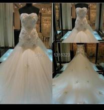 vestido de noiva 2016 Actural Image Sweetheart Beaded Bodycon Top Mermaid Royal Train Wedding Dresses Bridal Gowns casamento(China (Mainland))