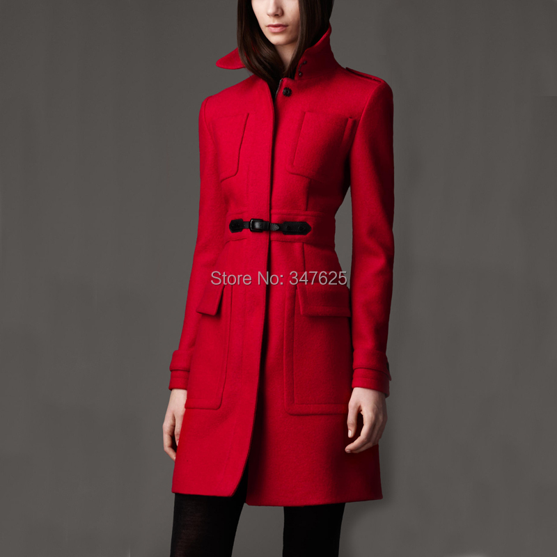2017 women's long winter woollen coat female slim red wool women cashmere coats jackets mandarin collar sleeve - YUpsilon-Fashion store