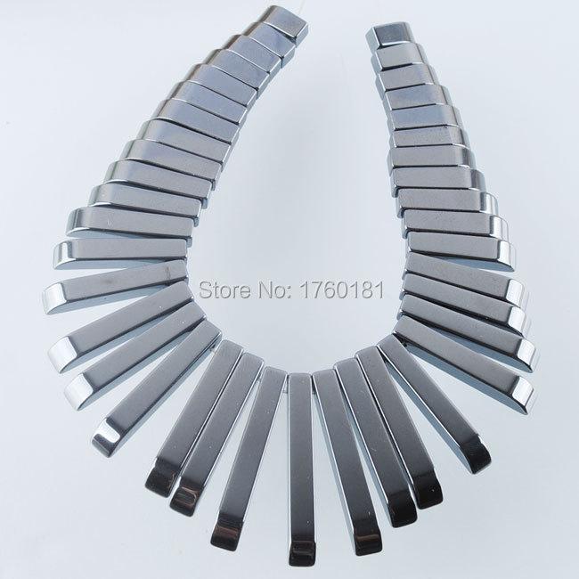 2015 Floating Charm Natural Black Synthetic Hematite Gemstone 41Pcs Stick Beads Pendant Set F0274(China (Mainland))