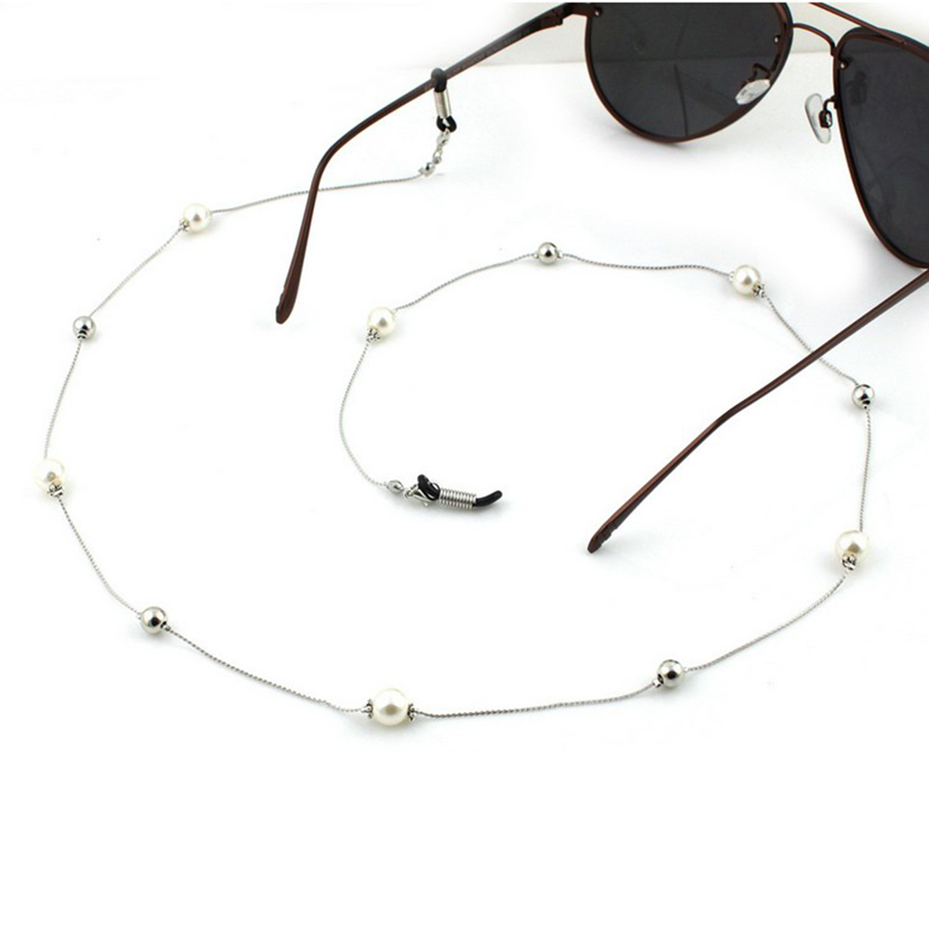 Pearl Beaded Chain Eyeglass Holder Spectacle Sunglass Cord Eyeglasses Rope Necklace White Pearls Glasses Holder Necklaces